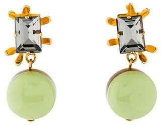 Marni Crystal, Horn & Resin Clip-On Drop Earrings