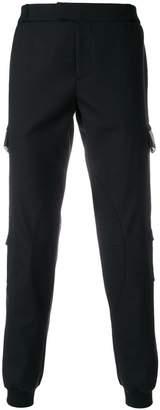 Les Hommes leather trim flap trousers