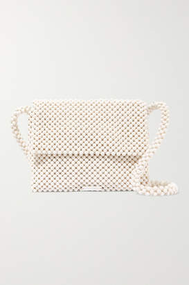 Loeffler Randall Roz Beaded Satin Shoulder Bag - White