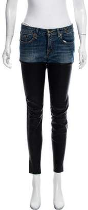R 13 Leather-Trimmed Mid-Rise Jeans