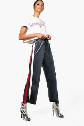 boohoo Athleisure Sports Stripe Velvet Wide Leg Trouser