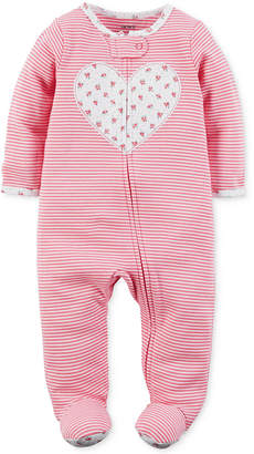 Carter's 1-Pc. Stripes & Heart Footed Coverall, Baby Girls (0-24 months) $16 thestylecure.com