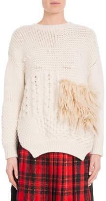 Simone Rocha Round-Neck Alpaca-Blend Cable-Knit Sweater w/ Faux-Fur Patch