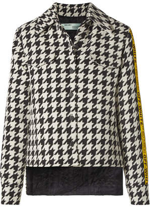 Off-White Canvas Jacquard-trimmed Houndstooth Wool-blend Jacket - Black