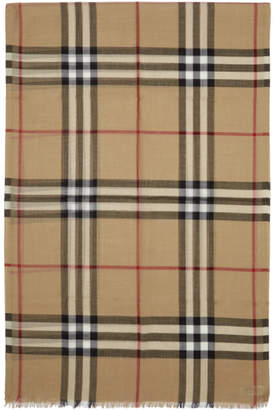 Burberry Beige Silk Giant Check Scarf