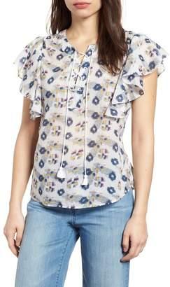Caslon Flounce Sleeve Lace-Up Blouse (Regular & Petite)