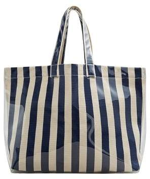 MANGO Striped shopper bag