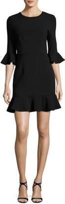 Black Halo Bell-Sleeve Flounce Dress