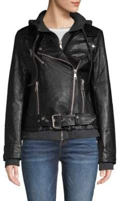 Bagatelle Hooded Faux Leather Moto Jacket