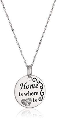 Sterling Silver and Crystal Message Pendant Necklace