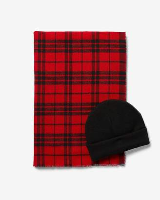 Express Checkered Scarf And Beanie Gift Set