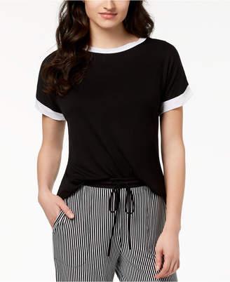 DKNY Contrast-Trim Pajama Top