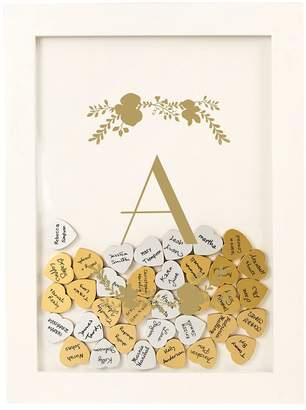 Cathy's Concepts Cathys Concepts Gold Finish Monogram Shadowbox Heart Drop Guestbook 101-piece Set