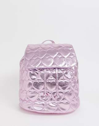 Lazy Oaf Pink Metallic Quilted Heart Backpack