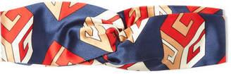 Twisted Printed Silk-satin Headband - Navy