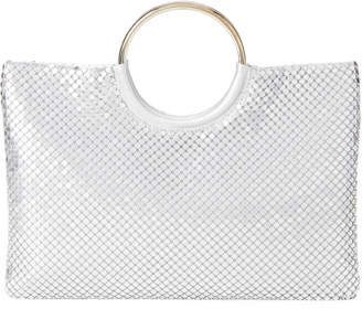 Jessica McClintock Silver Sonia Metallic Mesh Top Handle Bag