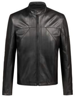 HUGO Boss Slim-fit biker jacket in nappa leather M Black