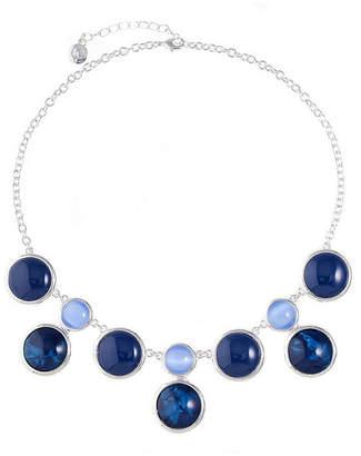 Liz Claiborne Womens Blue Round Statement Necklace