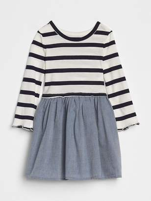 Gap Stripe Mix-Fabric Dress