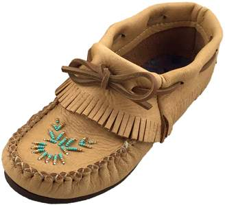 Bastien Industries Women's Moose Hide Leather Beaded Moccasins Shoes