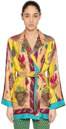 Etro Printed Silk Blend Kimono Jacket