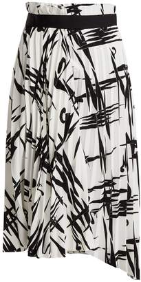Balenciaga Abstract-print pleated midi skirt