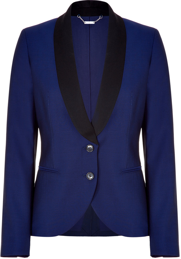 McQ Alexander McQueen Royal blue and black tuxedo blazer