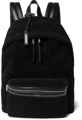 Saint Laurent City Leather-Trimmed Fleece And Canvas Backpack