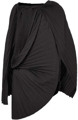 Junya Watanabe Asymmetric Pleated Pinstriped Wool-blend Tunic - Black