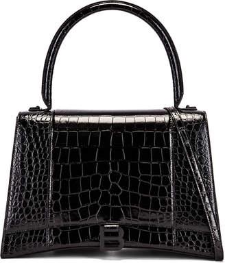 Balenciaga Medium Embossed Croc Hourglass Top Handle Bag in Black | FWRD