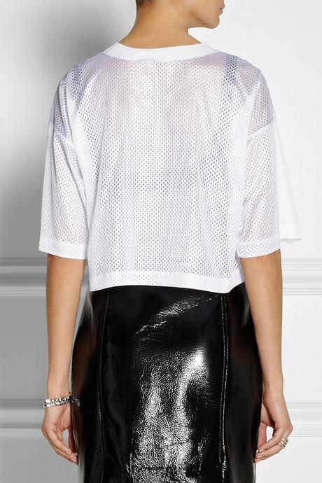 DKNY Cropped printed mesh top