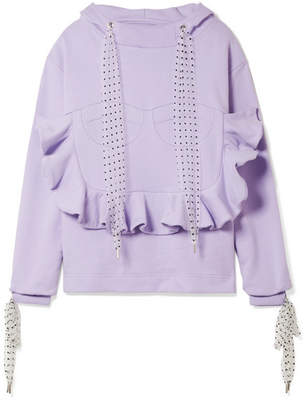House of Holland Flocked Tulle-trimmed Ruffled Cotton-jersey Hooded Top - Lavender