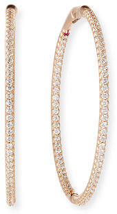 Roberto Coin 18k Gold Micro Diamond Pave Hoop Earrings, 1.5""