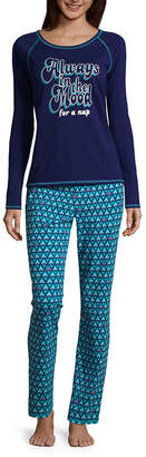 SLEEP CHIC Sleep Chic Long Sleeve Knit Pant Pajama Set