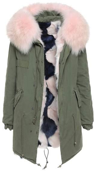 London Green Reversible Parka Midi Fox Fur