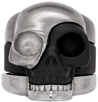 Alexander McQueen Gunmetal Divided Skull Ring Set