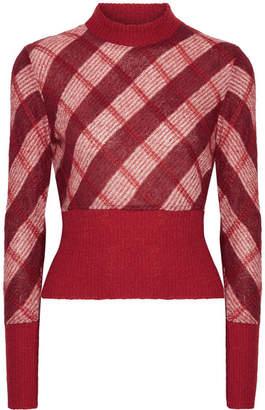 Miu Miu Checked Mohair-blend Sweater - Red