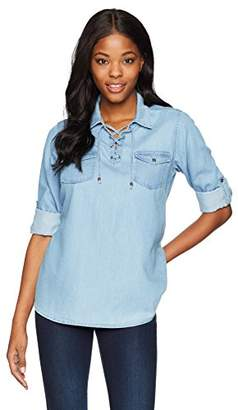 River & Rose Women's Long Sleeve Cotton Chambray Lace Up Shirt