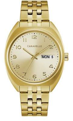 Bulova CARAVELLE Designed by Caravelle Men's Gold-Tone Watch, Champagne Dial - 44C110