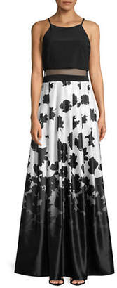 Betsy & Adam Printed Popover Gown
