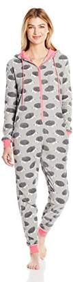 Bottoms Out Women's Micro Fleece Polka Dot One Piece Pajama