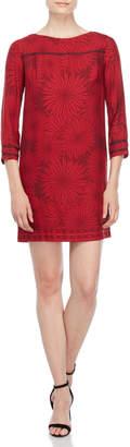 Atos Lombardini Printed Grosgrain Trim Shift Dress