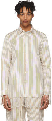 Loewe Beige and White Paulas Ibiza Edition Classic Striped Shirt