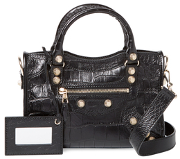 Balenciaga  Giant 12 City Mini Croc Embossed Leather Satchel