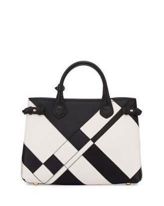 Burberry Banner Medium Patchwork Leather Tote Bag, Black/White $2,895 thestylecure.com
