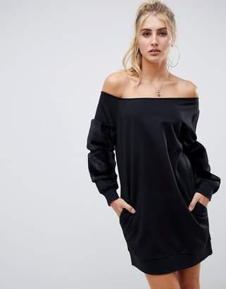 Asos DESIGN off shoulder sweat dress with faux fur sleeves