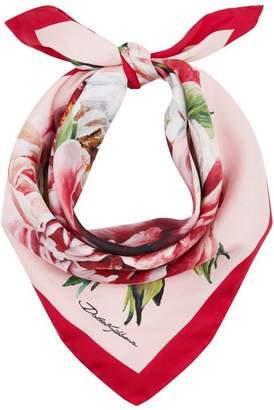 Dolce & Gabbana Peony Print Silk Scarf