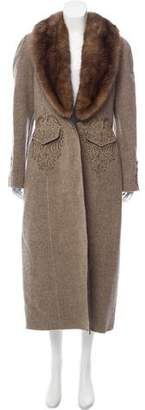 Oscar de la Renta Embroidered Mink Fur-Trimmed Coat