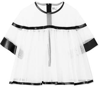 Noir Kei Ninomiya Faux Leather-trimmed Tulle Blouse