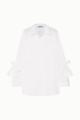 Prada Bow-embellished Cotton-poplin Shirt - White